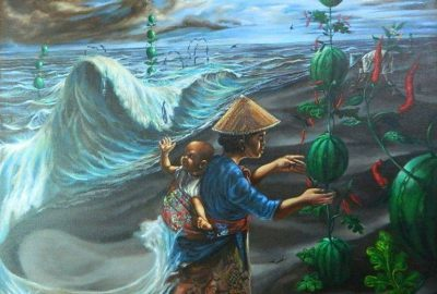 """Ilustrasi oleh Imam Abdillah, """"Petani Pesisir Sang Penakluk"""", akrilik di atas kanvas 100 cm x 100 cm."""